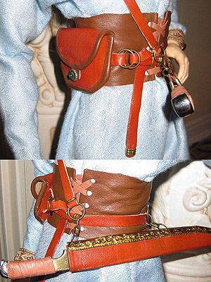 E.V. Svetova's leather belt and seax sheath for the 80 cm ball-jointed doll pictured above