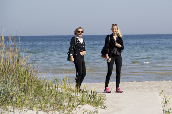 Octavia and Liv at Vitviken, on Gotland's East Coast, after filming at Tjelver's Grave.