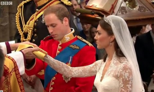 Handfast: Prince William weds the lovely Kate Middleton.
