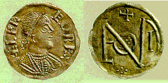 """Coinage: A penny of Ælfred's. The reverse spells out """"London"""", where the coin was struck."""