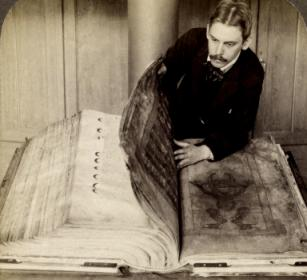 "An excellent historic photo of the ""Giant Book"" - the Codex Gigas, showing how huge it truly is. I was fortunate to see it myself in Stockholm."