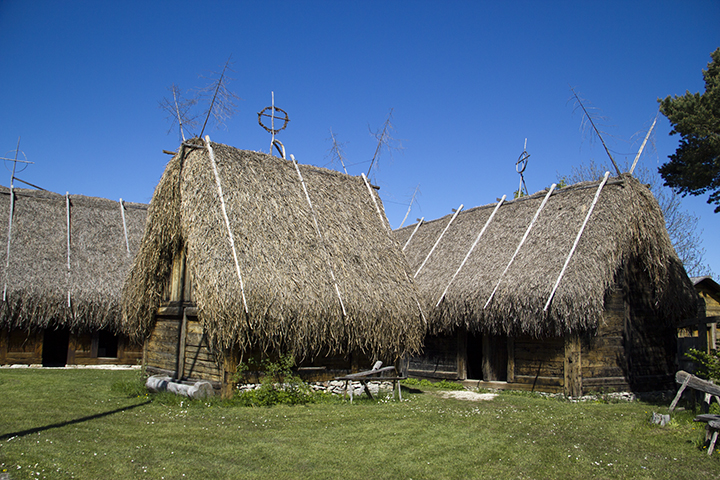 "Sedge (called ""ag"" on Gotland) thatched traditional buildings at the Bunge Farm Museum."