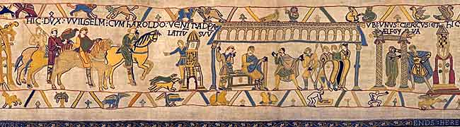 Reading Bayeux Tapestry, man in shorts