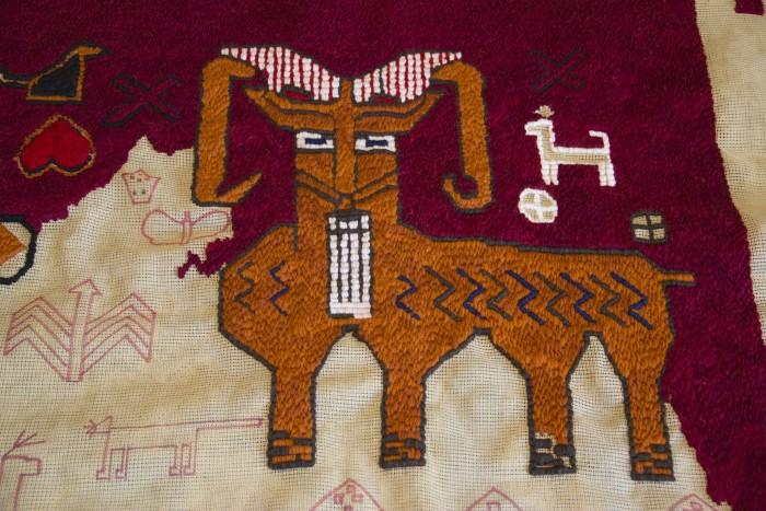 Goat pillow - detail showing colour variation