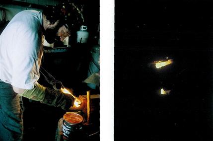 Refluxing after initial welds / View through Didymium visor