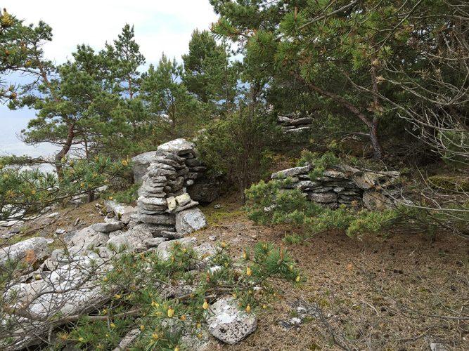 Old foundation walls on sea cliff, Fårö