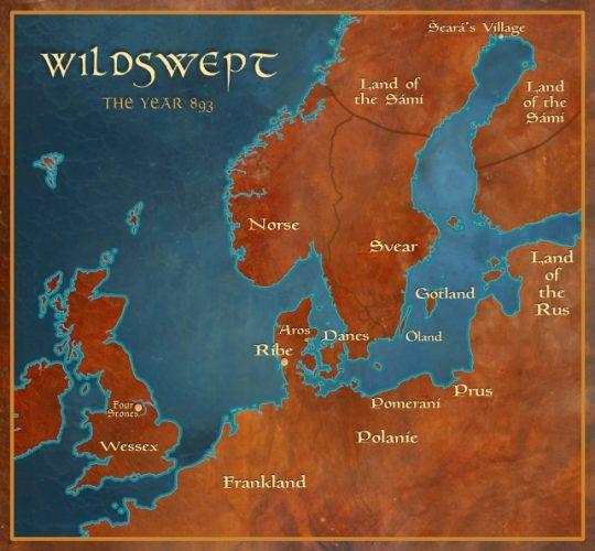 Wildswept: Map of Scandinavia and England 893